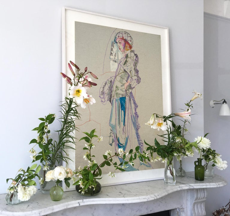 Elodie (Galliano Paris - Beret), Mixed Media on grey paper - Gray Figurative Painting by Howard Tangye
