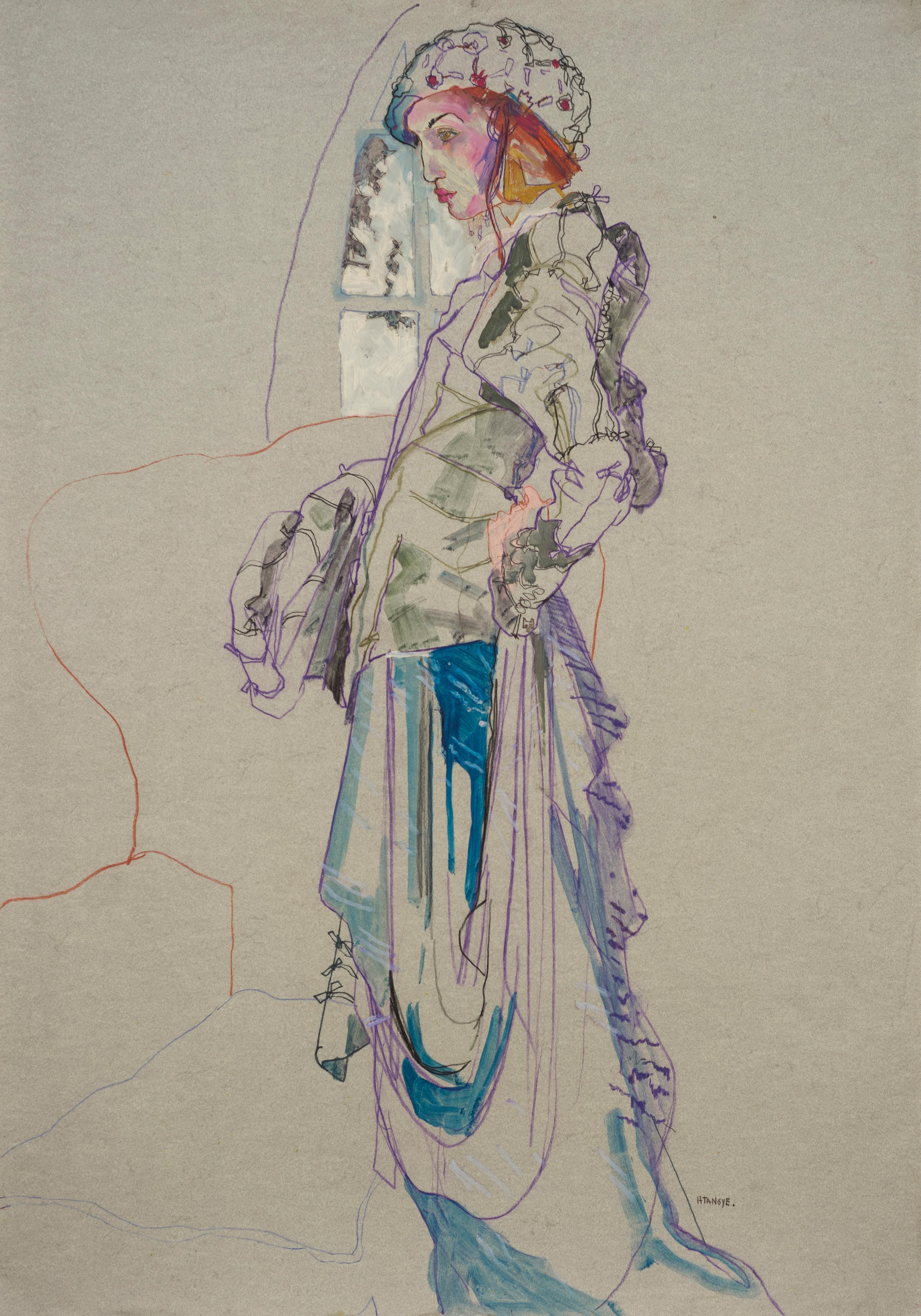 Elodie (Galliano Paris - Beret), Mixed Media on grey paper