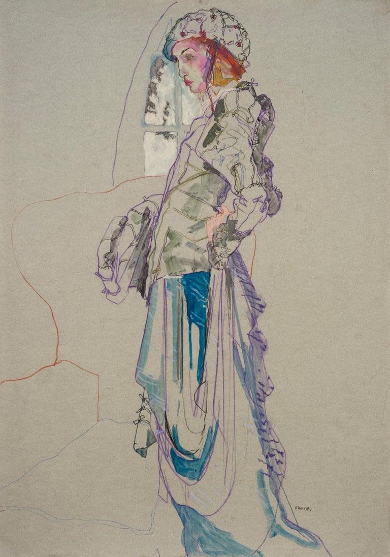 Howard Tangye Figurative Painting - Elodie (Galliano Paris - Beret), Mixed Media on grey paper