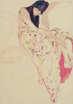 Emilie (Sitting, Curled Up - Pink), Mixed media on Pergamenata parchment
