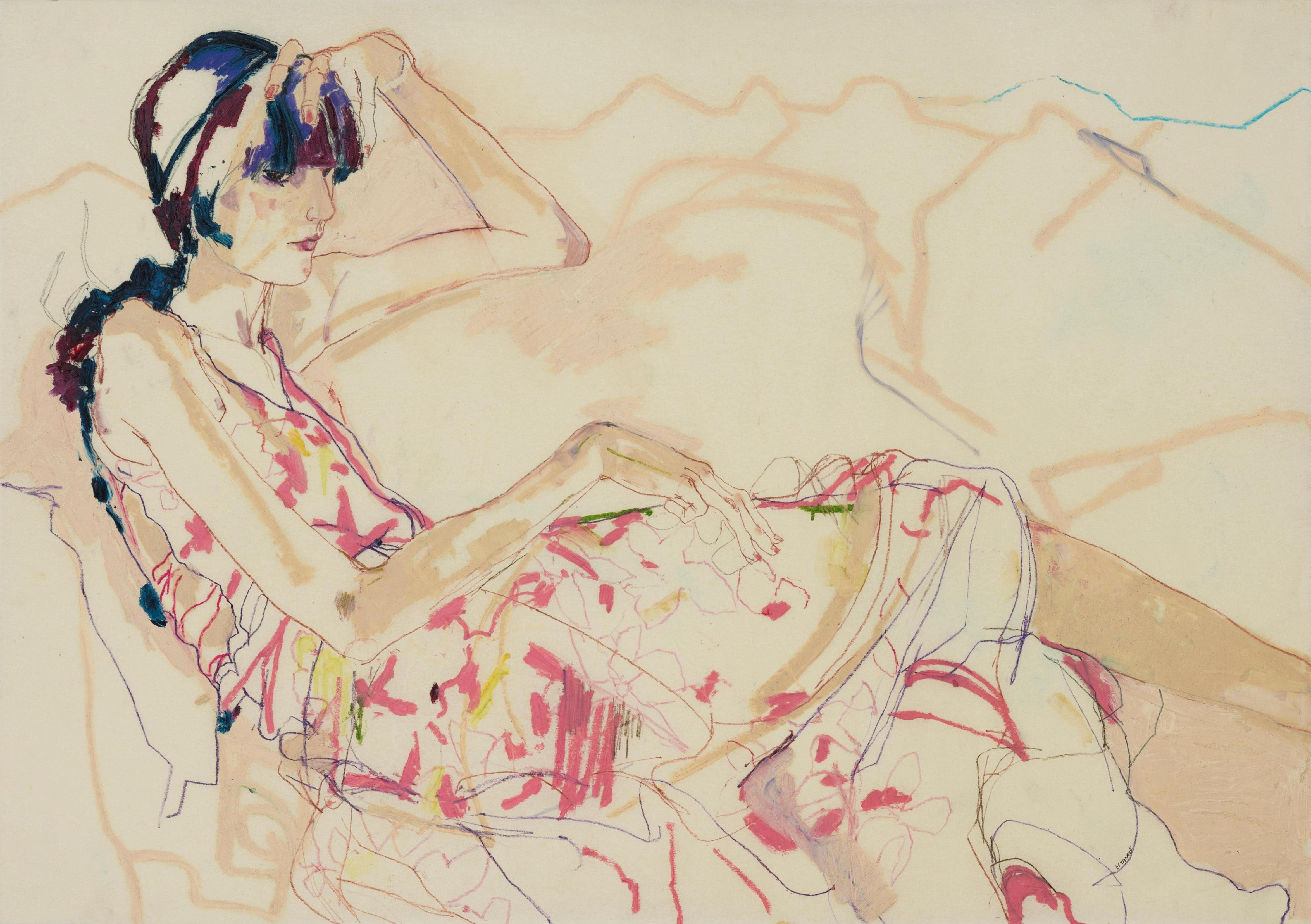 Emilie (Sitting, Legs Out - Pinks), Mixed media on Pergamenata parchment