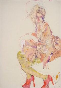 Emma (Galliano Paris / Stephen Jones), Mixed media on Pargamenata parchment