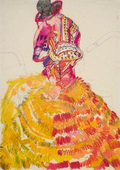 Emma (Seated - Dior Couture, Pink & Yellow), Mixed media on Pergamenata paper