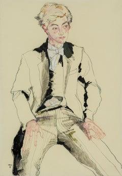 Eton Boy (Sitting), Mixed media on Pergamenata parchment