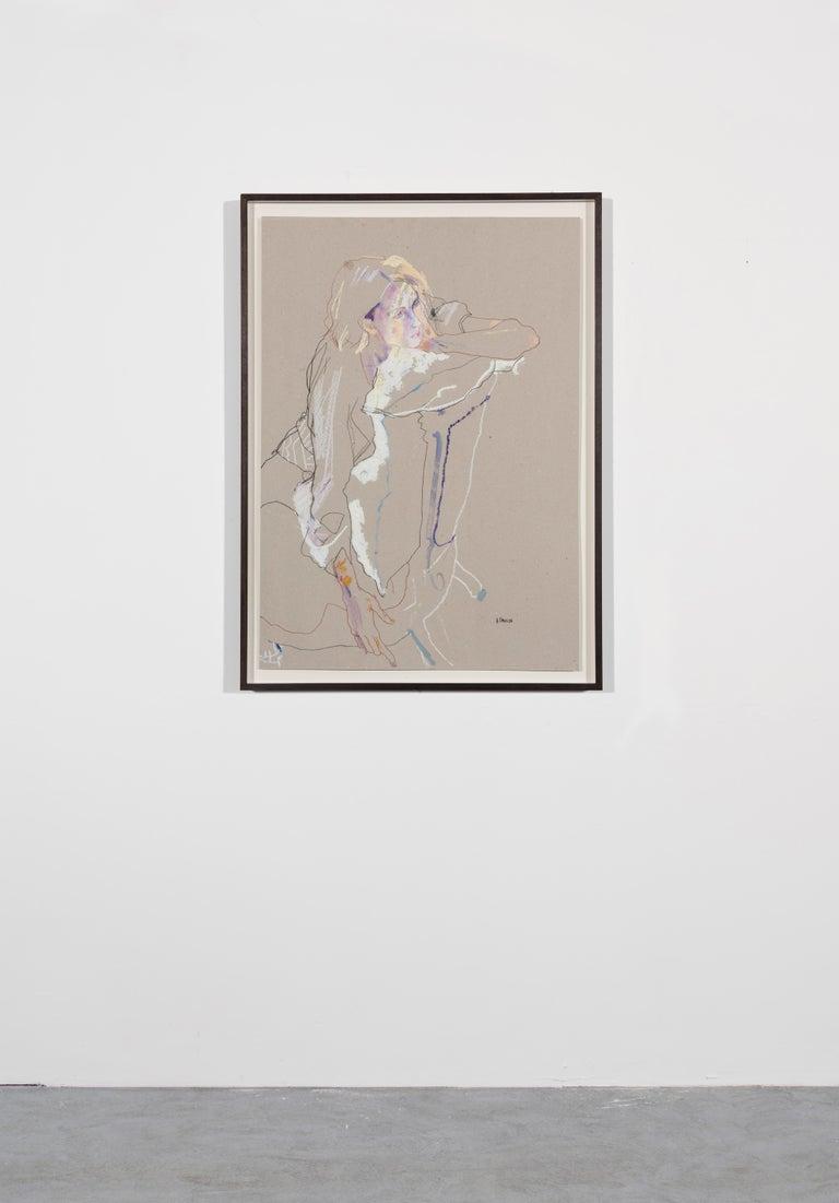 Freya (Seated Backwards), Mixed media on grey board - Painting by Howard Tangye