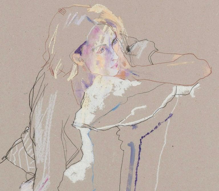 Freya (Seated Backwards), Mixed media on grey board - Contemporary Painting by Howard Tangye
