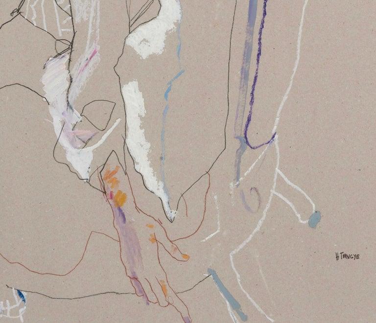 Freya (Seated Backwards), Mixed media on grey board - Gray Figurative Painting by Howard Tangye