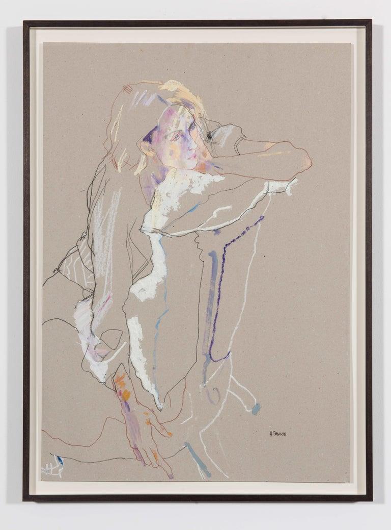 Howard Tangye Figurative Painting - Freya (Seated Backwards), Mixed media on grey board