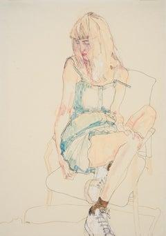 Freya (Sitting, Turning Away - Blue Dress), Mixed media on Pergamenata parchment
