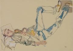 George (Sleeping, Feet up), Mixed media on Pergamenata parchment