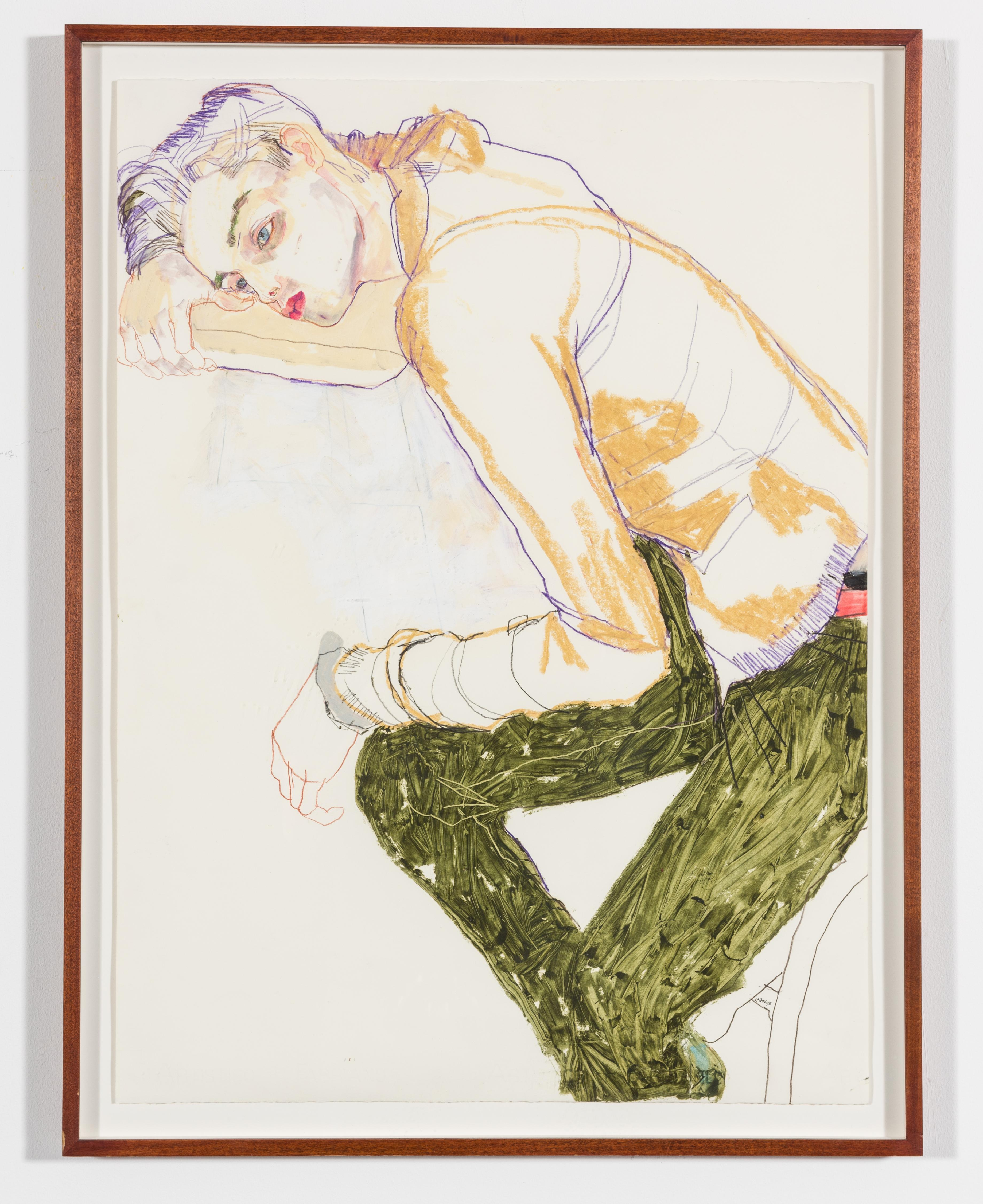Jake W. (Before Paris II), Mixed media on Fabriano paper