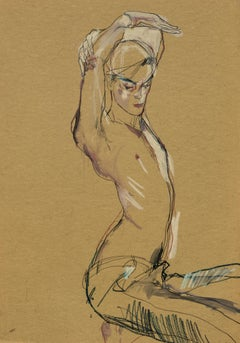 Jake W. (Hands Over Head - Shirtless), Mixed media on ochre parchment