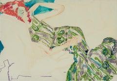 Manon (Lying - Green), Mixed media on Pergamenata parchment