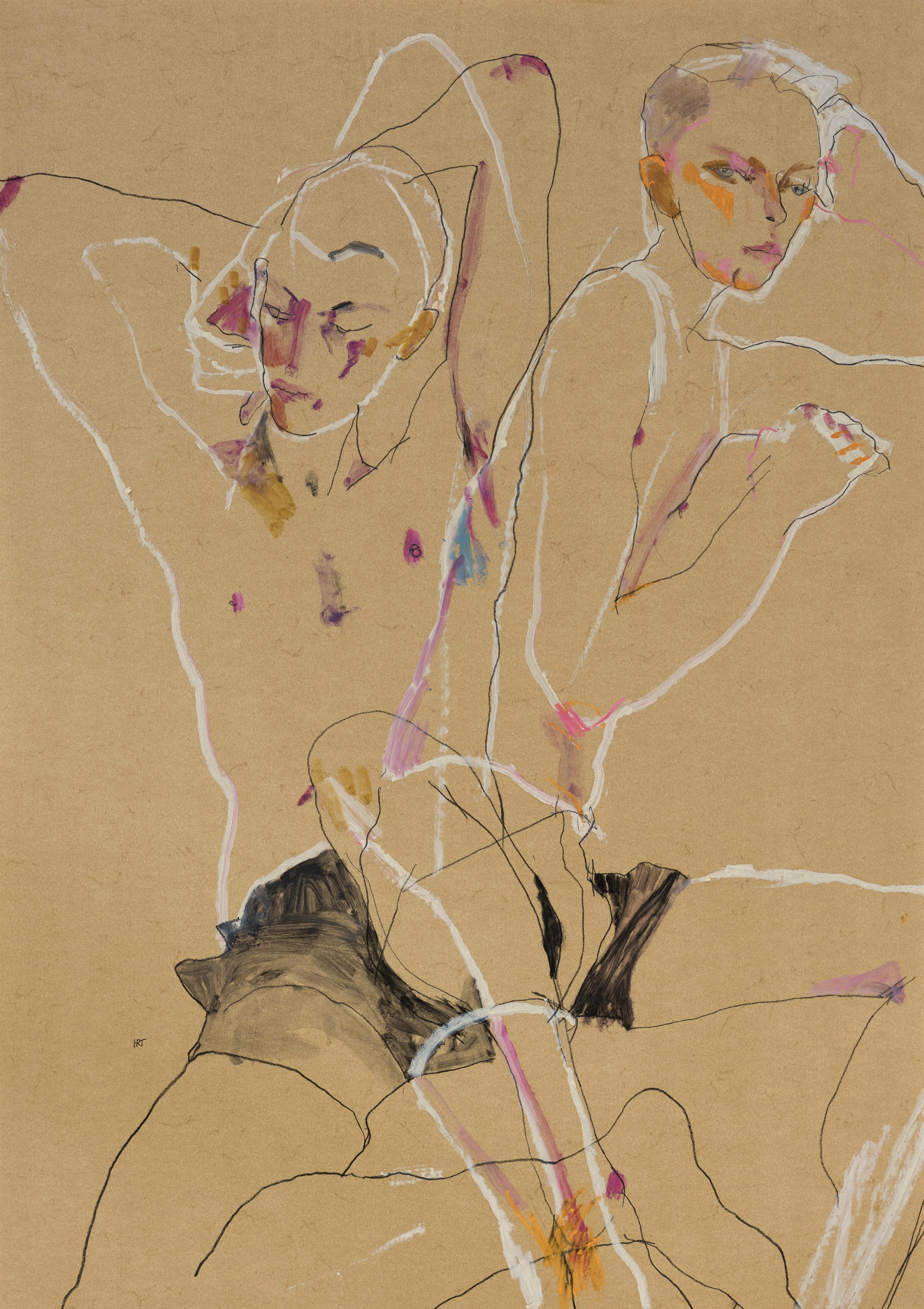 Matthew (Two Figures, Overlapping), Mixed media on ochre parchment