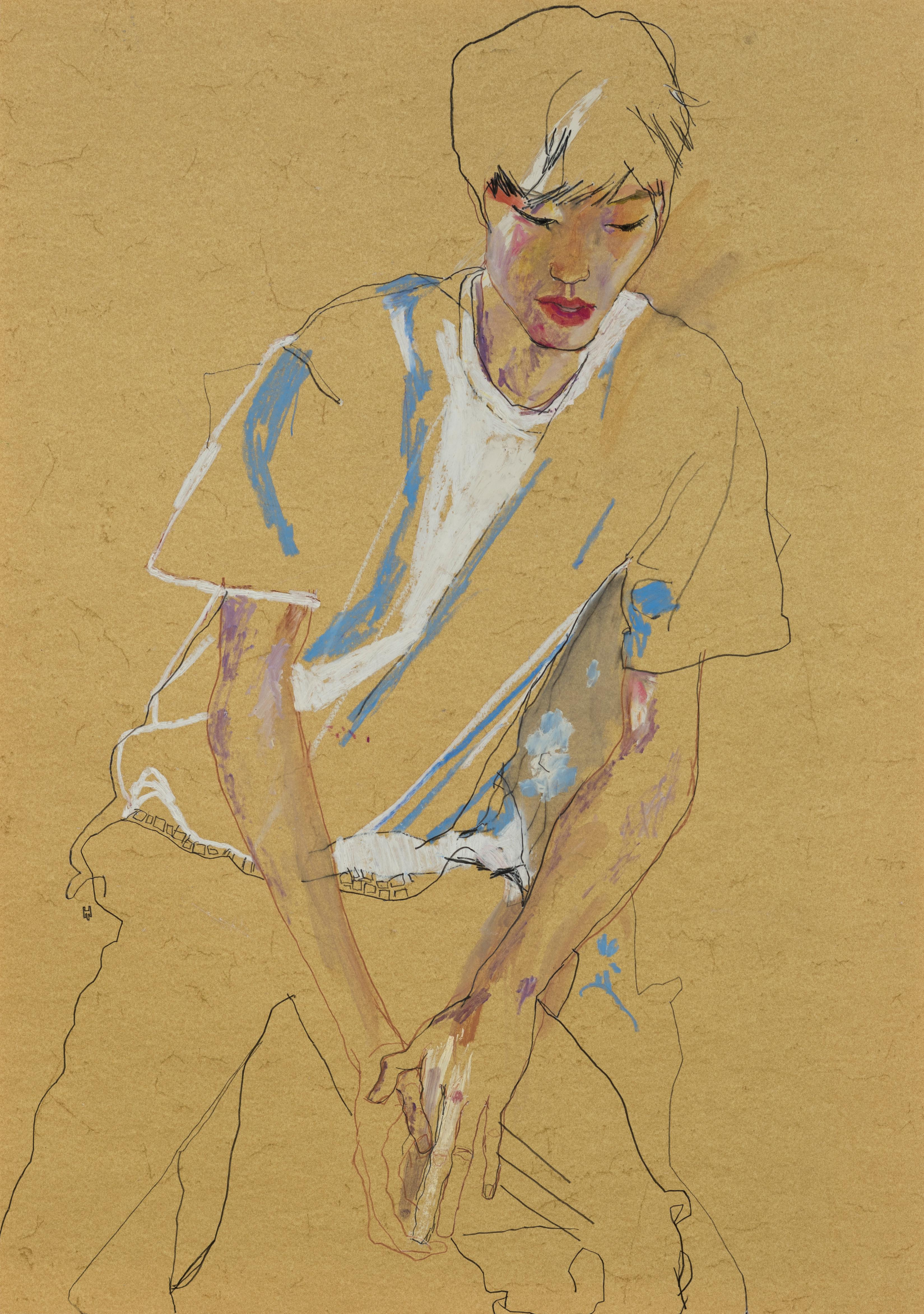 Nobu (Hands on Legs - Blue & White), Mixed media on ochre parchment