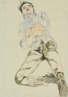Oscar (Lying Back - Blue Stripe Shirt), Mixed media on Pergamenata parchment