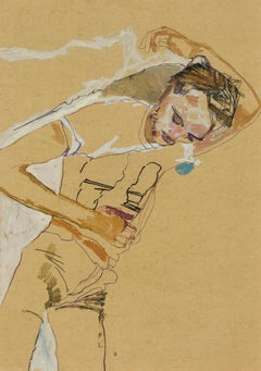 Oscar (Lying Back, Hand Behind Head, 3/4 Figure), Mixed media on ochre parchment