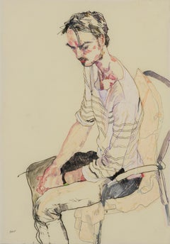 Oscar (Sitting, Profile - Black and White), Mixed media on Pergamenata parchment