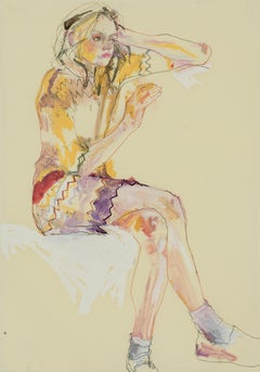 Sarah B. (Sitting, Hand in Head - Red and Yellow), Mixed media on parchment