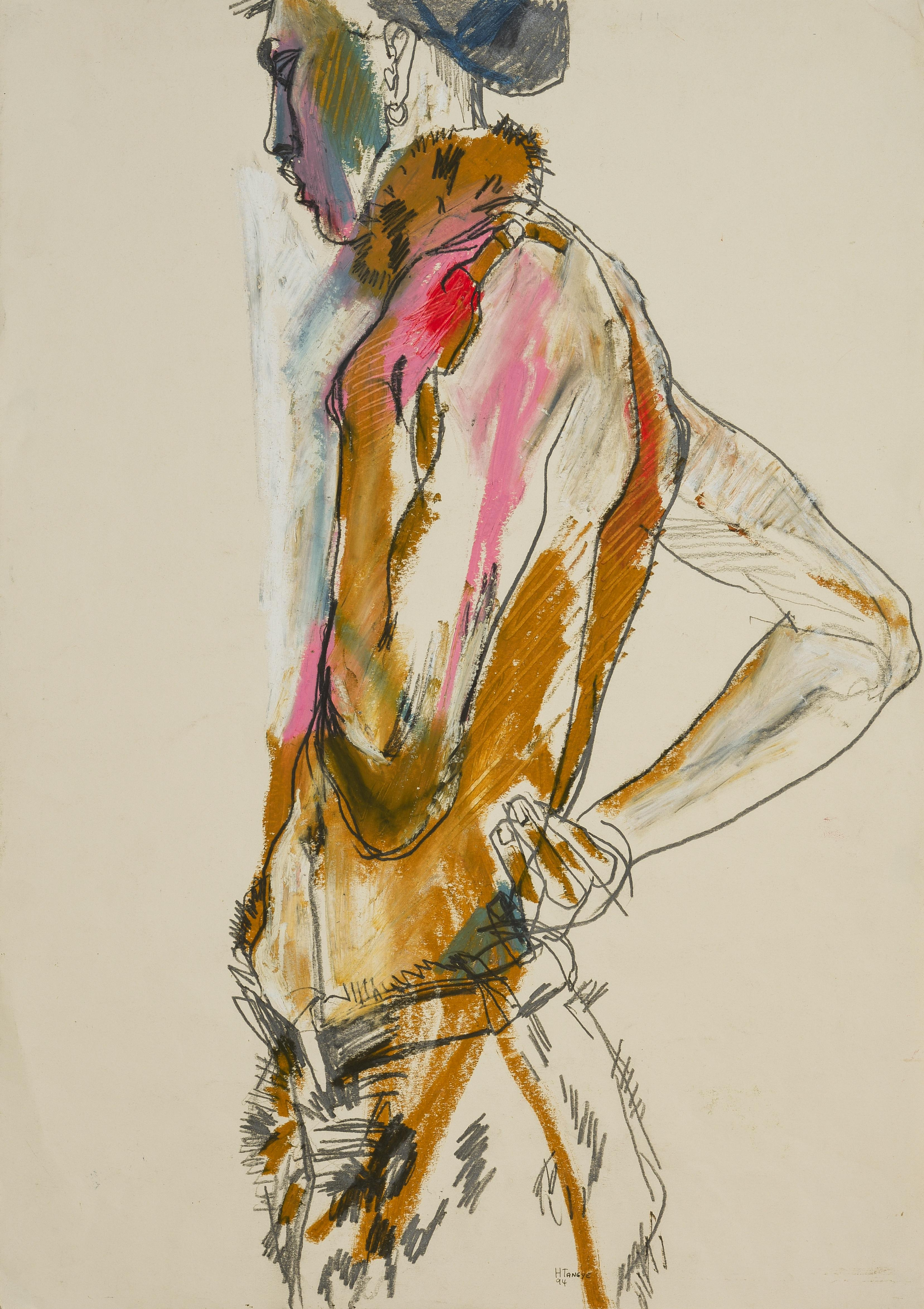 Stephan (Half Figure, Standing), Mixed media on paper