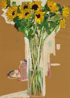 Sunflowers, Mixed media on ochre paper