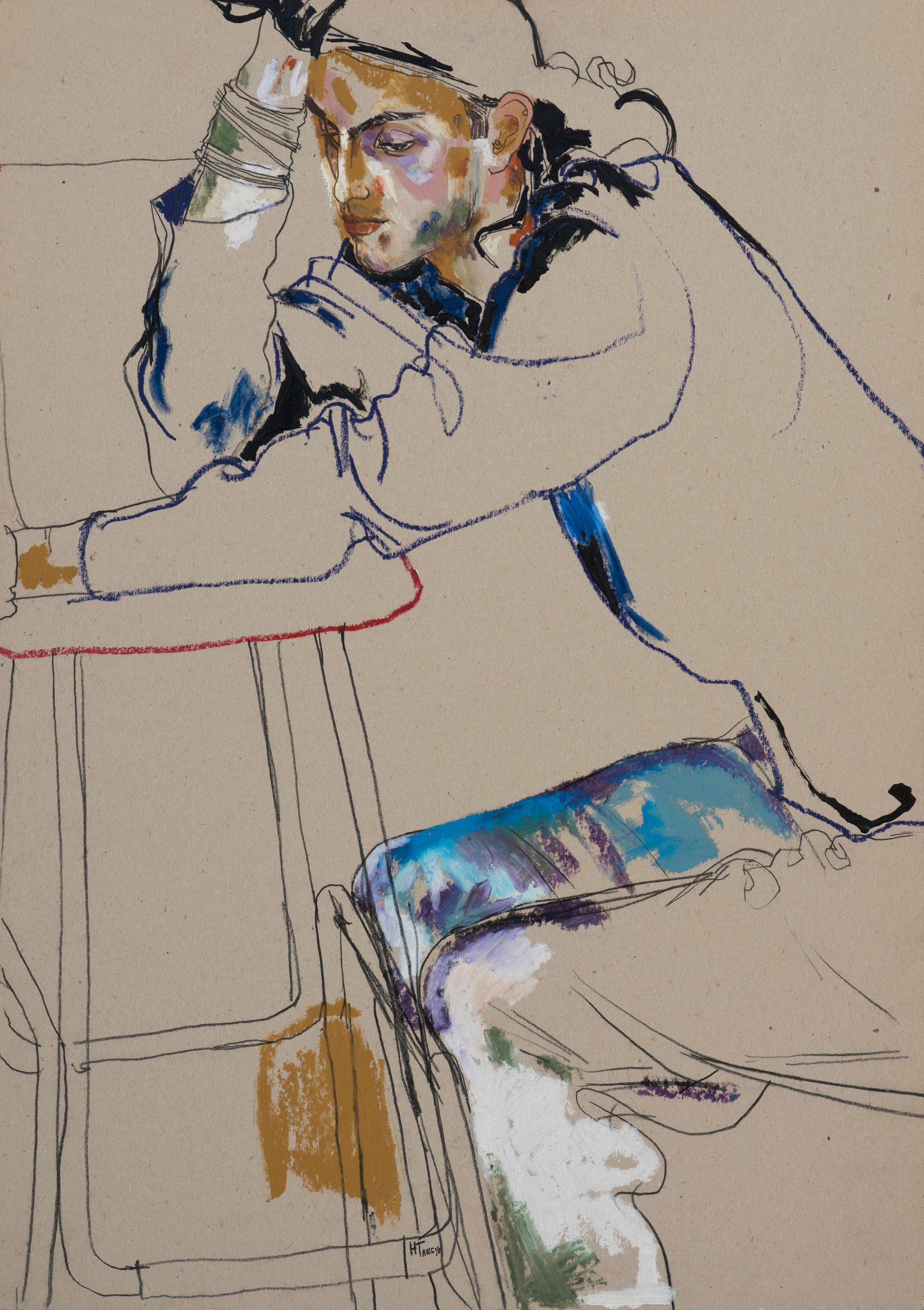 Tom Cawson (Sitting - Hand on Head), Mixed media on grey cardboard