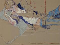 Wes Gordon (Lying Down), Mixed media on grey board