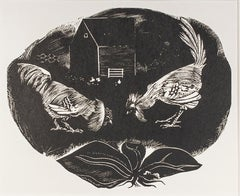 """Brahma vs. Leghorn,"" Farm Scene Wood Engraving by Howard Thomas"