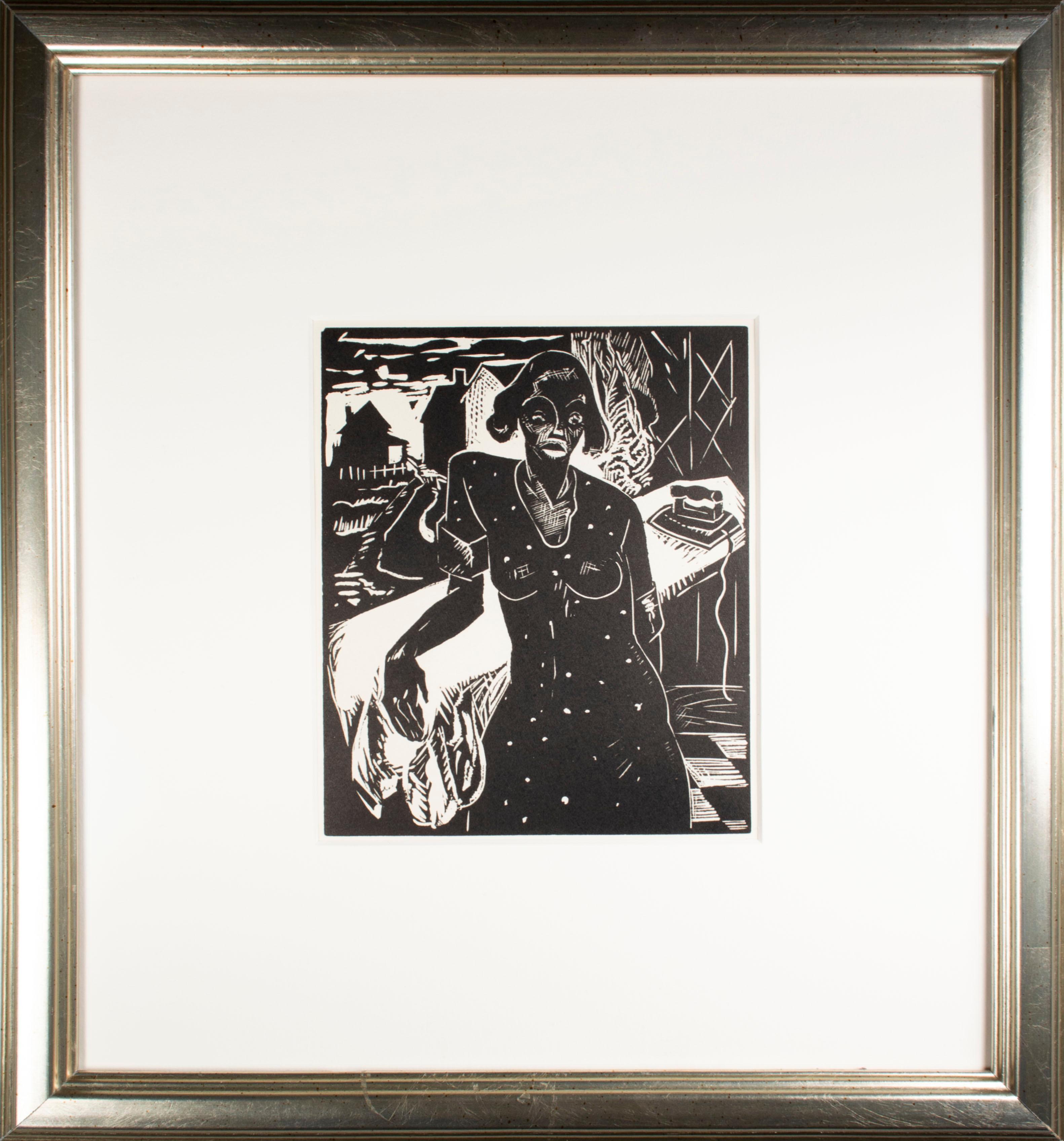 'Monday in Wick Haven' original linoleum cut print by Howard Thomas