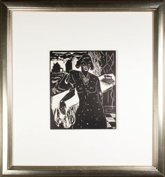 'Monday in Wick Haven' original linoleum cut print by Howard Thomas