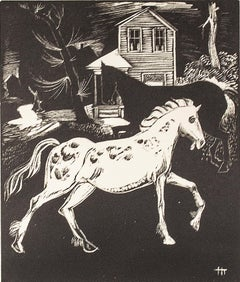 """White Horse,"" Wood Engraving signed in Image by Howard Thomas"