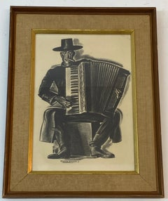 "Howard Willard ""The Accordionist"" Original Lithograph c.1931"
