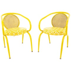 Howell Midcentury Yellow Chairs, Pair