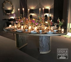 Davidson's Modern, Oval Howes Dining Table in High-Gloss Pebble Grey Anegre Wood