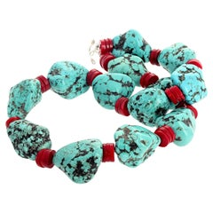 Huge Howlite Turquoise and Natural Red Coral Necklace