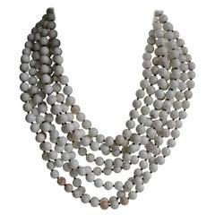 Howlite (White Beads) Long Gemstone Necklace