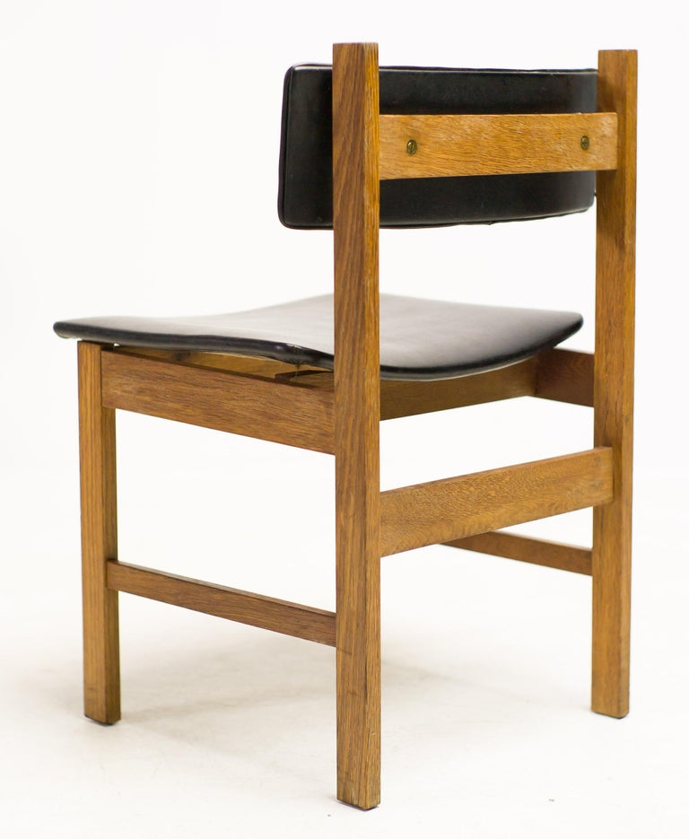 Scandinavian Modern H.P. Hansen Set of Four Danish Architectural Dining Chairs For Sale