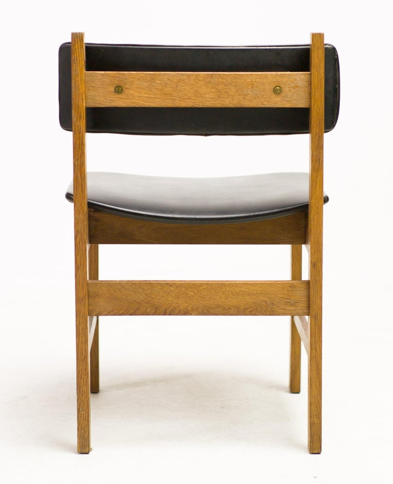 Mid-20th Century H.P. Hansen Set of Four Danish Architectural Dining Chairs For Sale