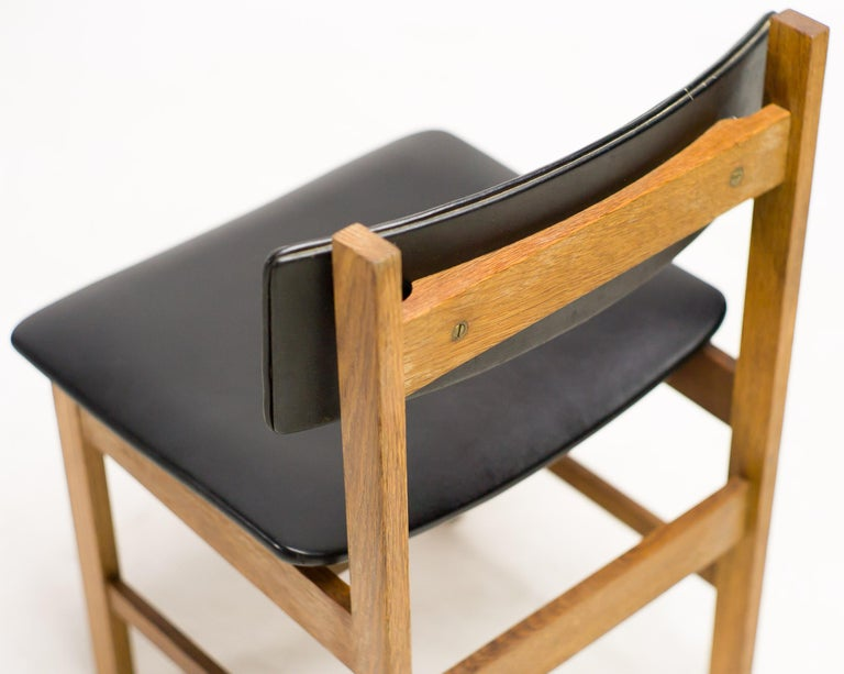 Naugahyde H.P. Hansen Set of Four Danish Architectural Dining Chairs For Sale
