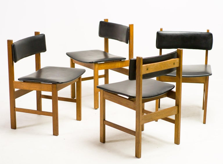 H.P. Hansen Set of Four Danish Architectural Dining Chairs For Sale 1