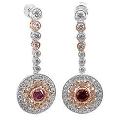 HPHT Vivid Pink Diamond Round Halo Dangle Drop Two-Tone Gold Fashion Earring