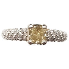 HRD 0.83 Carat Cushion Fancy Intense Brownish Yellow Ring
