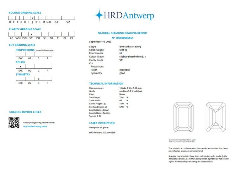 Modern HRD 5.50 Carat Emerald Cut Diamond Ring For Sale