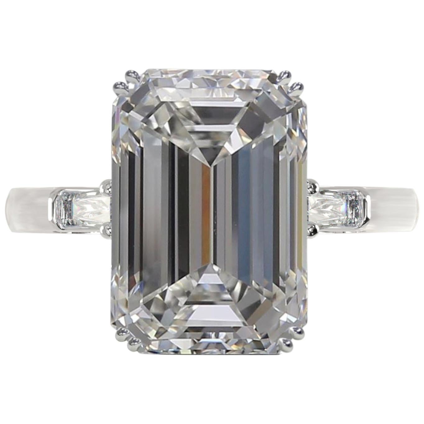 GIA Certified 4  Carat Emerald Cut Diamond Ring E Color VVS1 Clarity