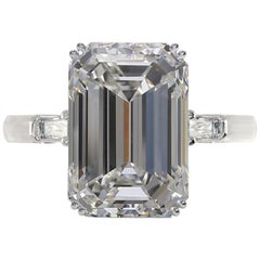 GIA Certified 4  Carat Emerald Cut Diamond Ring E Color VVS1 Clarity