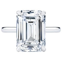 HRD 6.02 Carat Eye Clean Emerald Cut Solitaire Ring