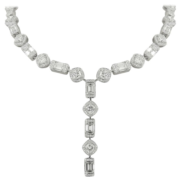 520b05485c HRD and GIA Certified White Gold Diamond Necklace - 24.09 ct For Sale