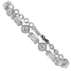 HRD and GIA White Gold Diamond Bracelet - 6.72 ct