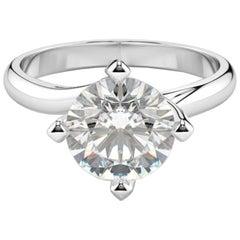 Hrd Antwerp 2.30 Carat Round Brilliant Cut Diamond Ring 18 Carat White Gold