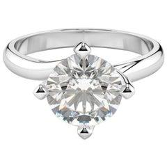 Hrd Antwerp 2.30 Carat Round Brilliant Cut Diamond Ring Hearts & Arrows
